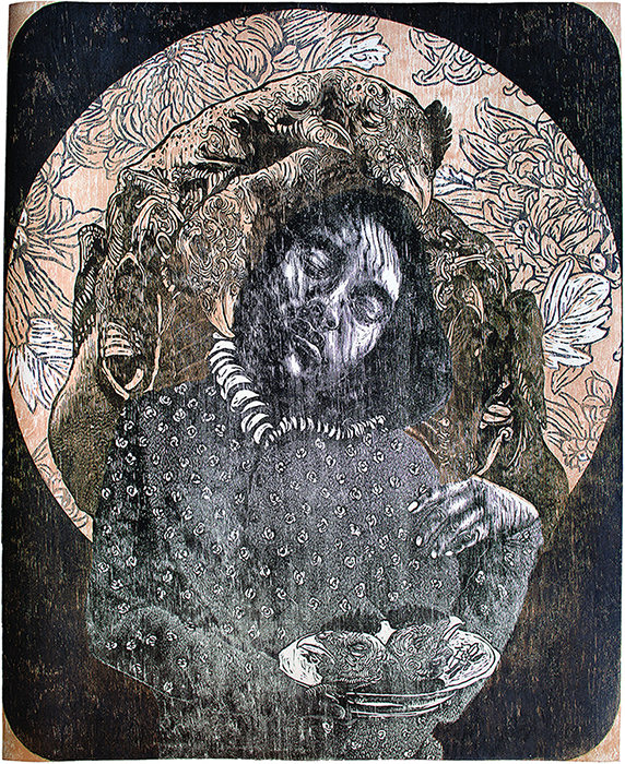 Pictured: Edith Chávez,  Crisantemo , woodcut, 2014