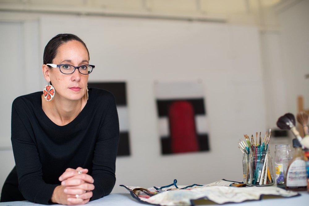 Dyani White Hawk Polk in her studio. Photo: David Ellis