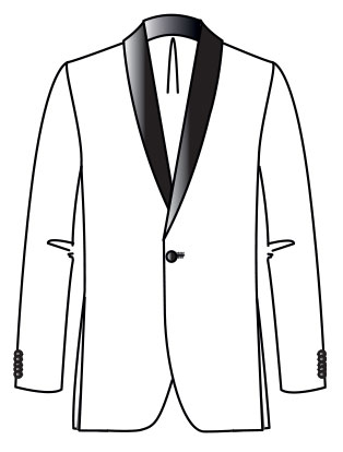 Bellini Tuxedo  Inspired by the first white tuxedo, 1963 Satin shawl collar