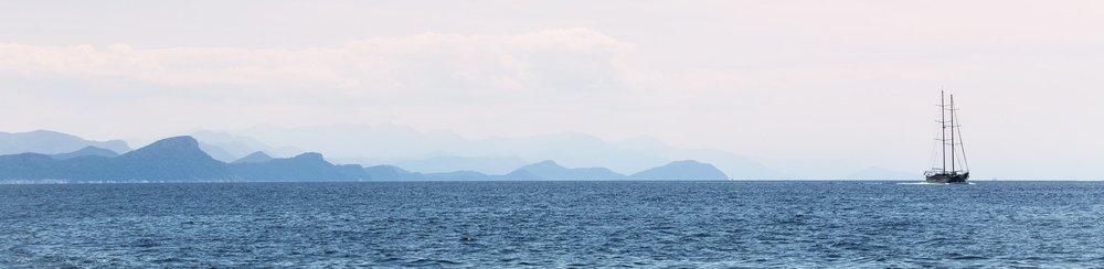 Morning views sailing the Mediterranean Sea from our MedSailors Catamaran