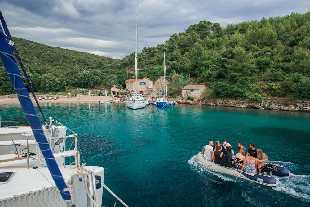 While sailing the Med, we often took a dinghy to restaurants when from our yachts, which were moored in the bay.
