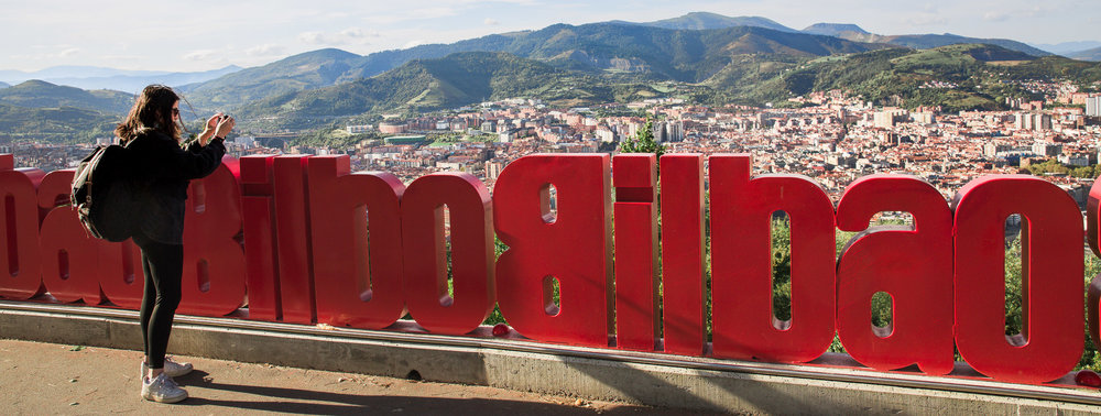 Looking out over Bilbao from Artxanda Mountain, Basque Country, Spain