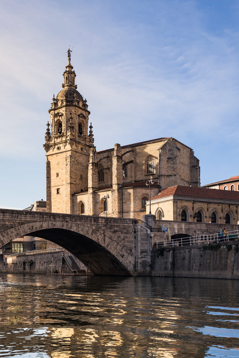 The St. Anthony Church in Bilbao as seen from the Nervion River