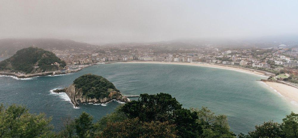 San Sebastian as seen from Igueldo Mountain, Basque Country Spain