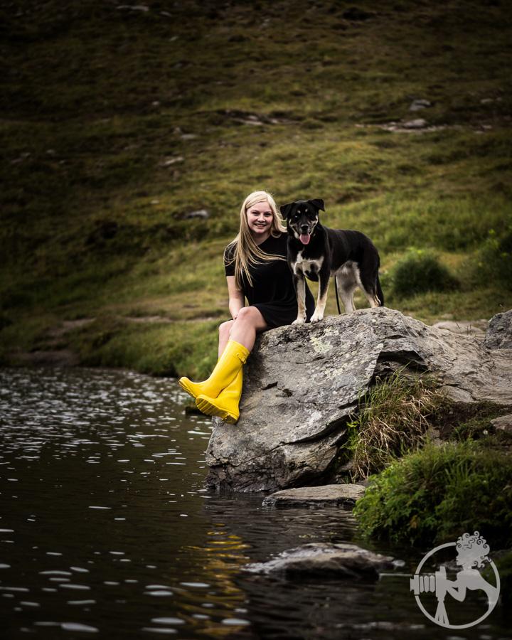 Yellow boots at Summit Lake