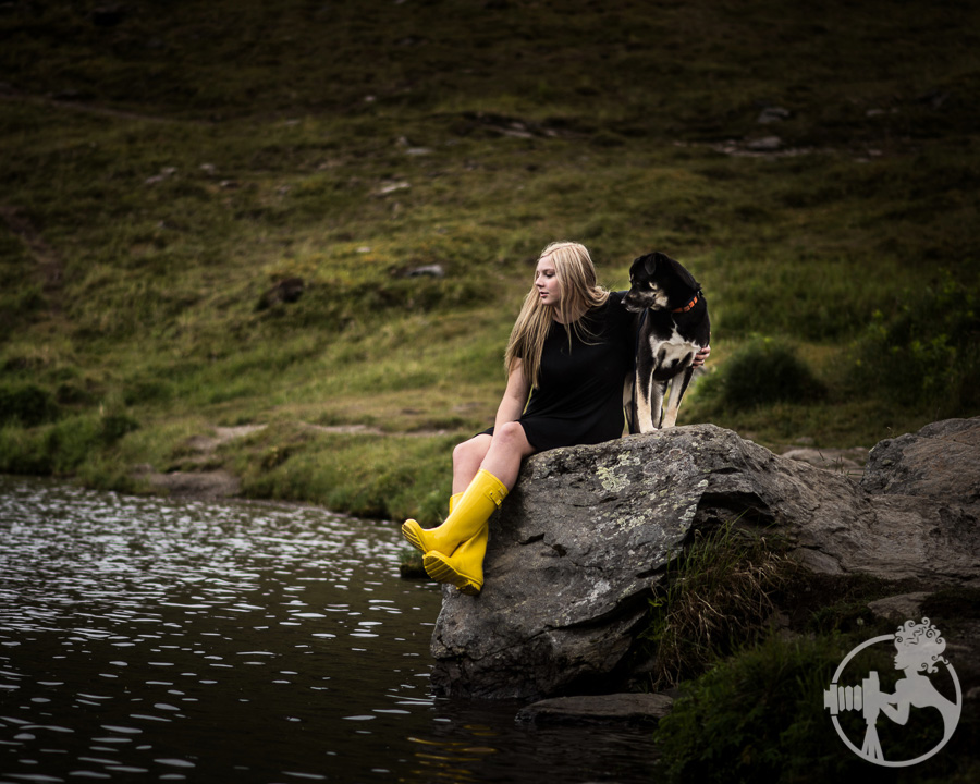 Yellow boots and her favorite dog.