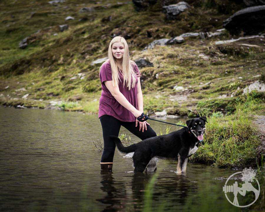 Monica and her sweet pup, playing in the cirque tarn