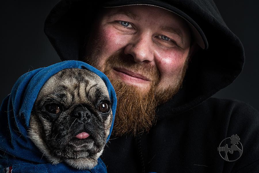 A Pug in a hoodie