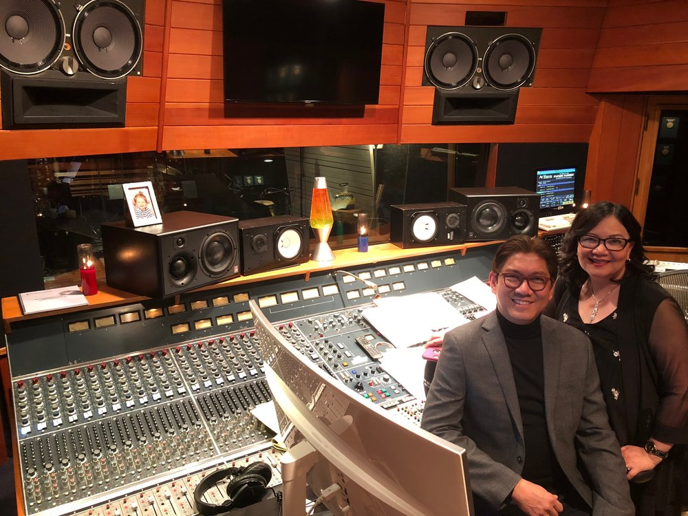 Elzar Simon with wife, Dr. Elisa Simon inside one of the studios in The Village Recording Studios in Santa Monica, California