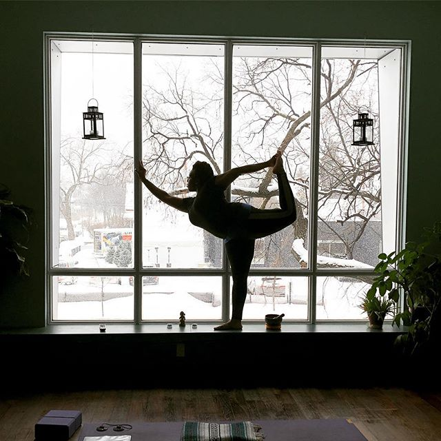 The perfect place to be on a snowy day. ❄️ #youryoga #yoga #dancerspose #mplsyoga