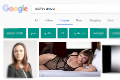 How one of Audrey's images appears in a search engine