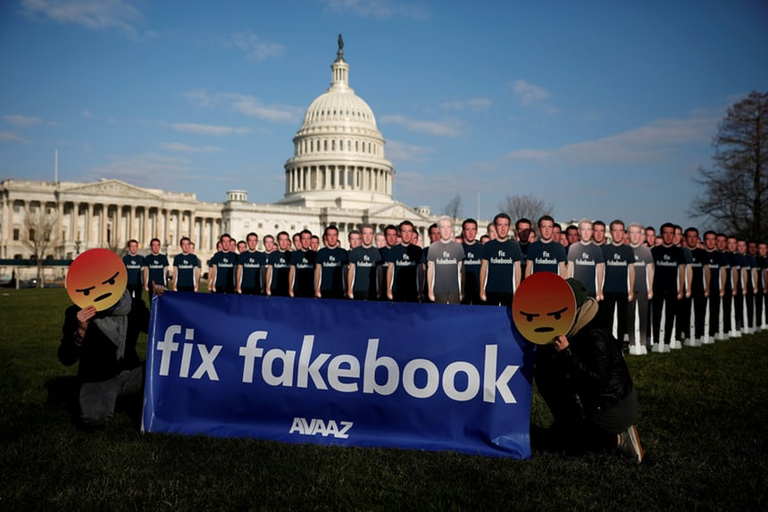 Image courtesy of  The Guardian. Protestors during Mark Zuckerberg's trial regarding FB's privacy policy