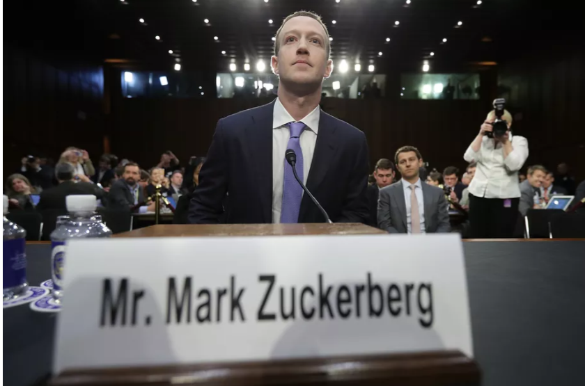 Image courtesy of  Recode.  Facebook CEO Mark Zuckerberg during his testimony earlier this month