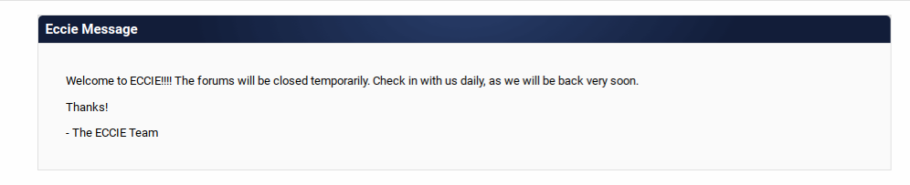ECCIE returns. Old message from earlier this month via  ECCIE's website .