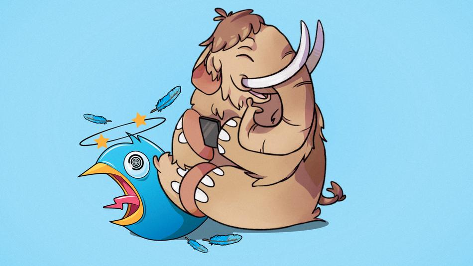 Image courtesy of Mashable. Mastodon mascot squashing a bird's tweet