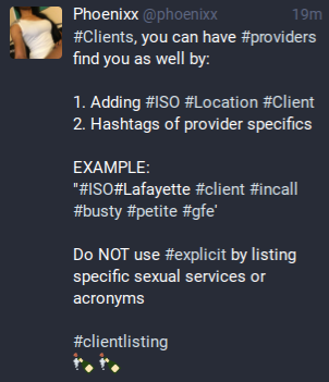 My Switter toot explaining how to create a client listing