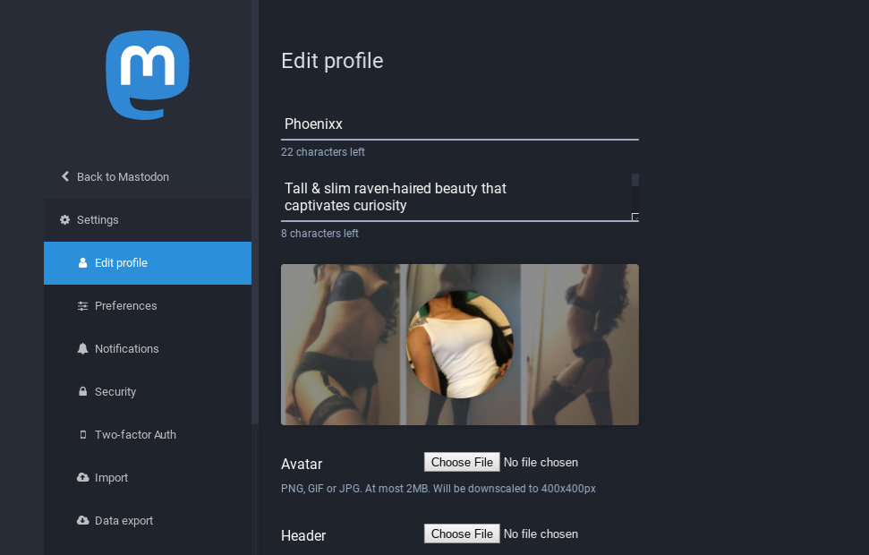 Edit Profile page