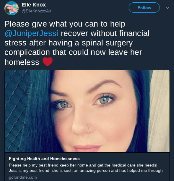 Elle Knox raising awareness about an online fundraiser for Jessi