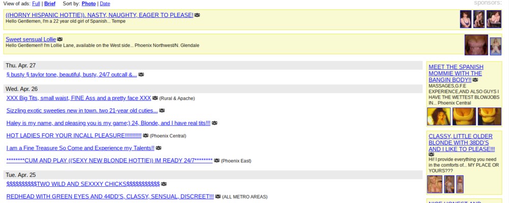 Backpage adult services listings. April 2006.Image courtesy of Wayback Machine.