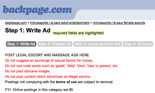 Rules & requirements for a legal Backpage escort ad. Image Courtesy of  Business & Human Rights.