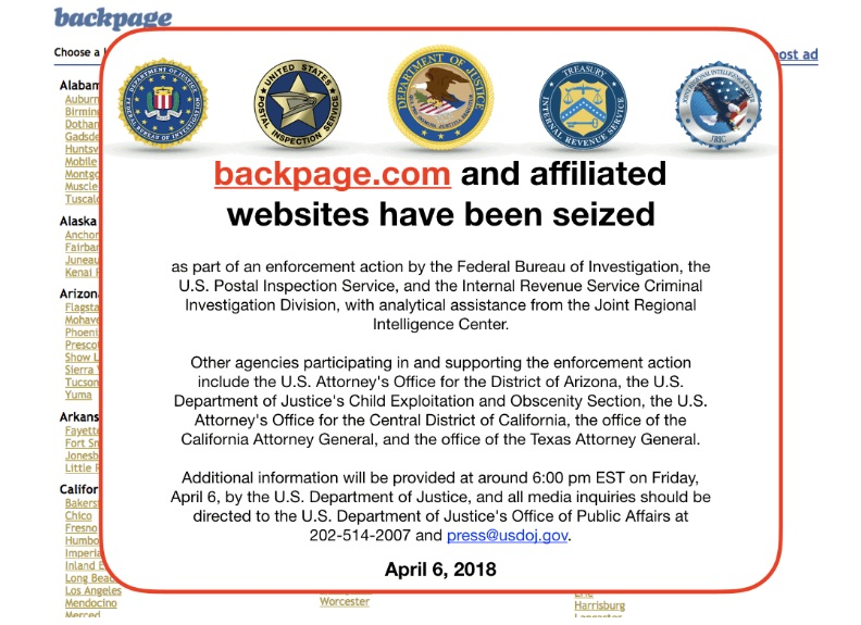 The infamous pop-up on the now seized Backpage. Image courtesy of  Fortune.
