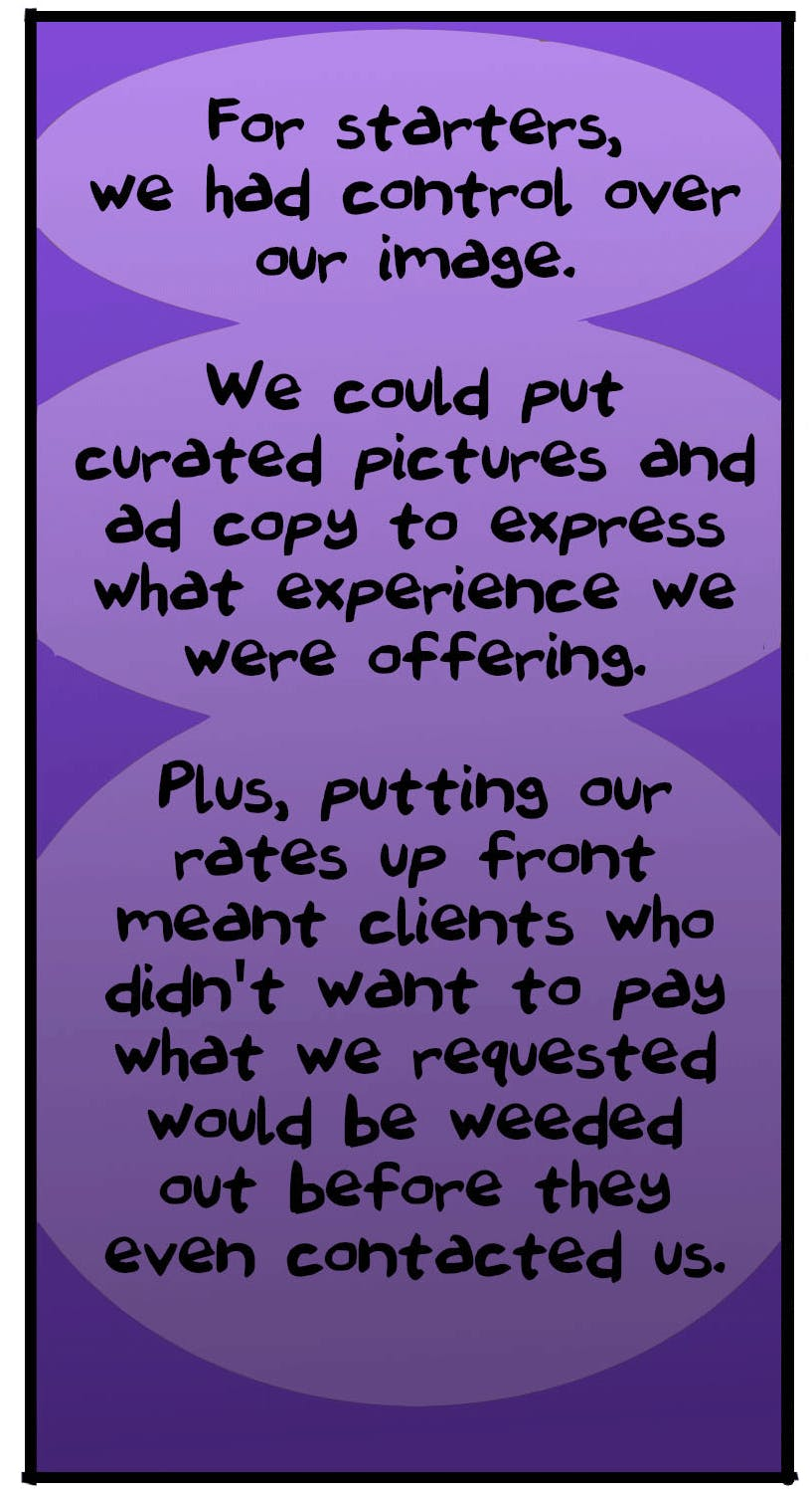 Benefits of the online classifieds website, Backpage, for adult advertisers. Image courtesy of  The Nib