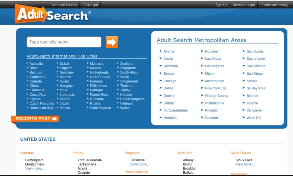 Screenshot of AdultSearch USA