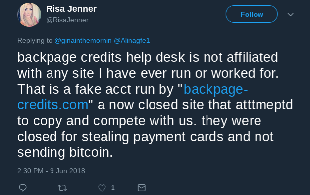 Backpage credits help desk was affiliated with you.Stop.