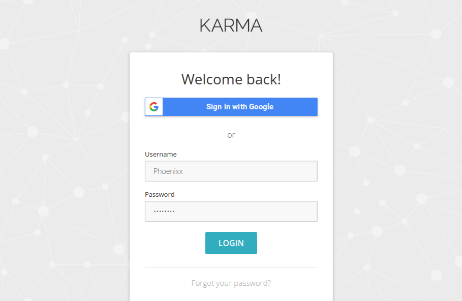 Karma Screen Log In