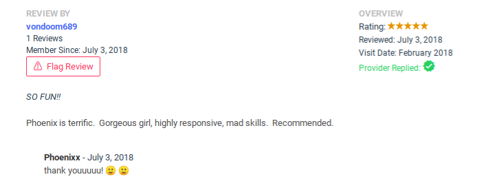 One of my reviews and my reply.