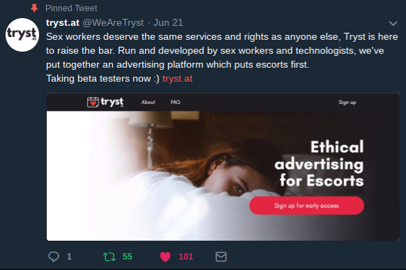 Tryst.at's Twitter:  @WeAreTryst