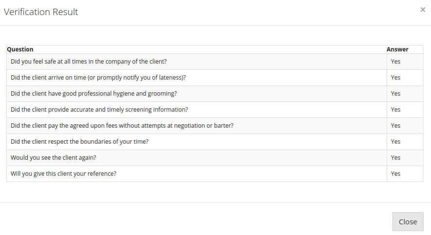 The escort's version of their questionnaire to verify their client is safe, honest, respectful, etc.