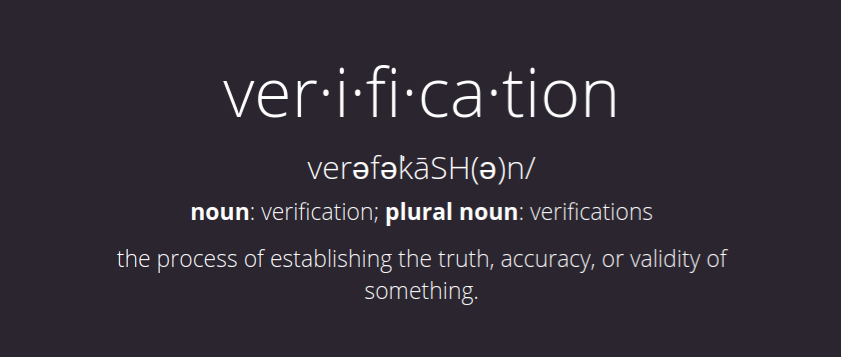 Have We Met's definition of  verification  via their home page.