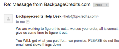 Backpagecredits Ripoff Report .  help@bp-credits.com =backpagecredits = yesbackpage