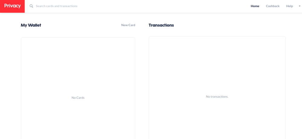 Privacy's dashboard showing  Wallet  and  Transactions.  Clicking on  'New Card'  will allow you to make a new burner card.