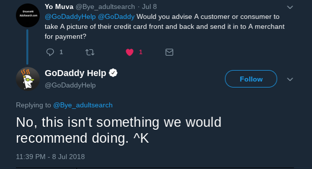GoDaddy's recommendation to NOT go through AdultSearch's verification.