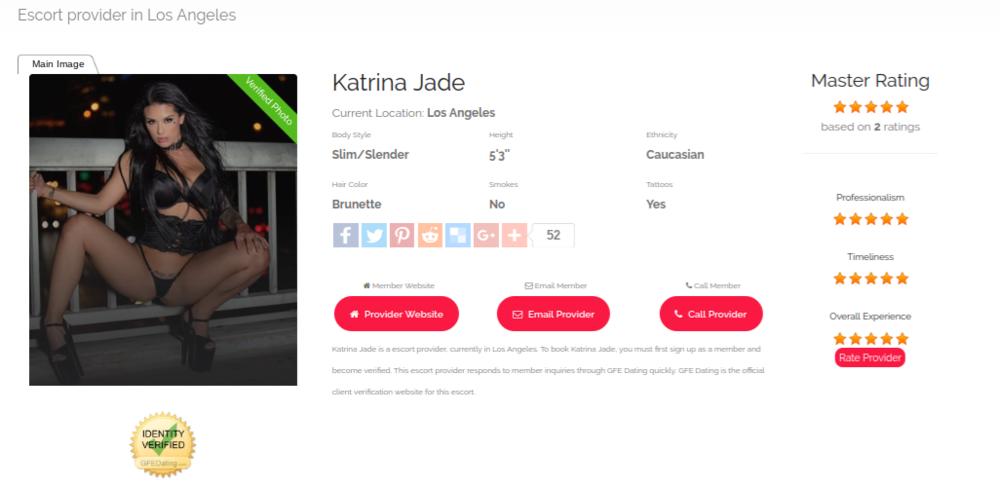 Example of GFEDating escort profile using Katrina Jade's profile.