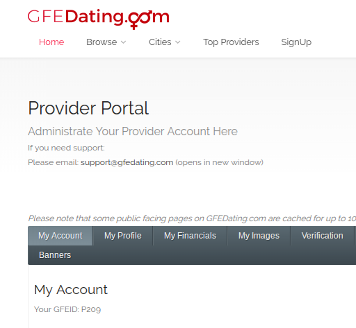 Partial display (mostly cropped) of GFEDating's Provider Portal for  Provider  accounts. It's user-friendly and easy to navigate.