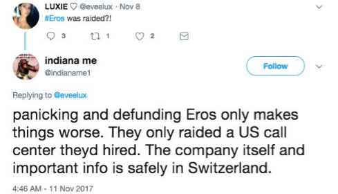 The company itself is in the USA. The US call center that was raided is linked to Eros along with other entities.