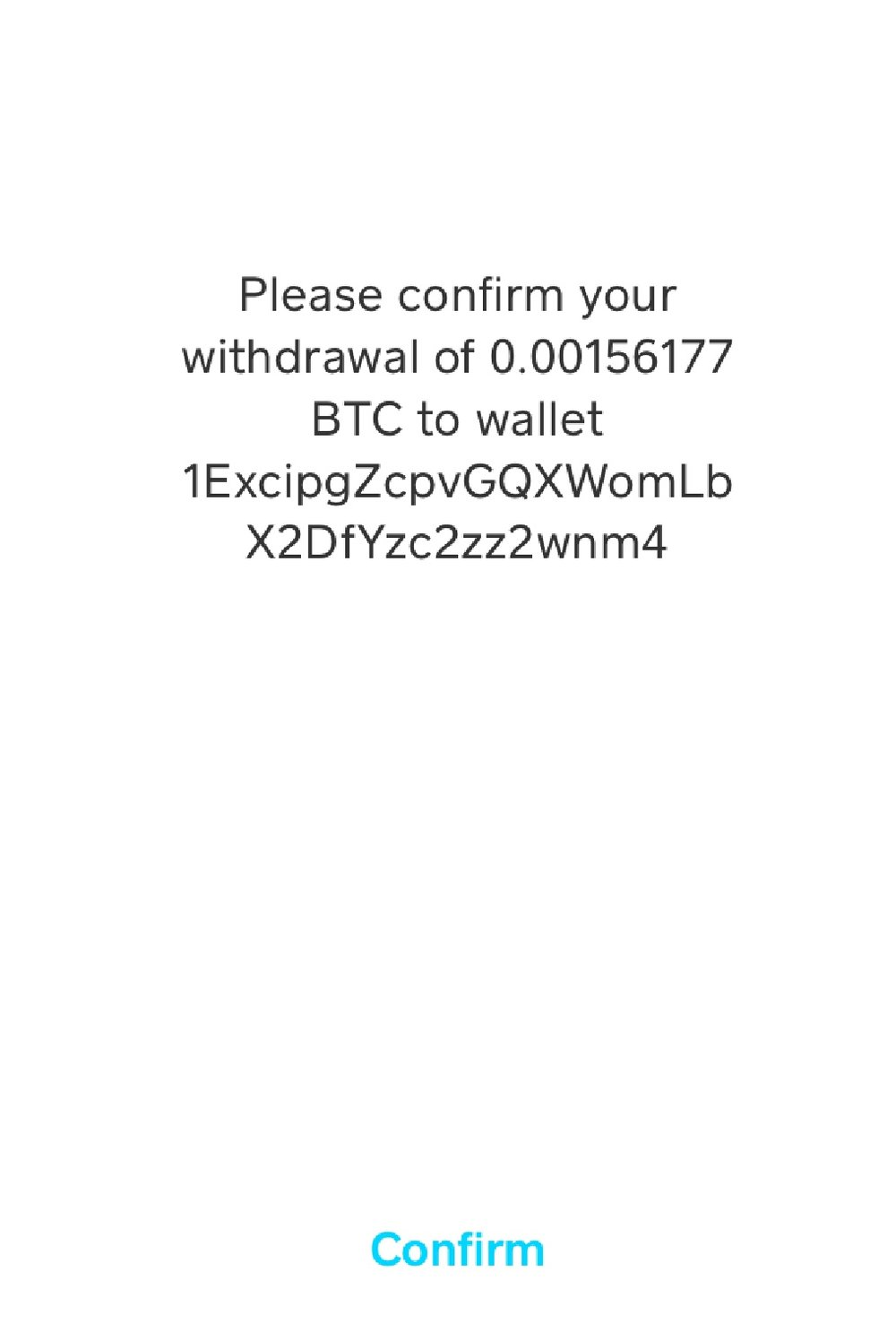 13. Confirm Withdrawal