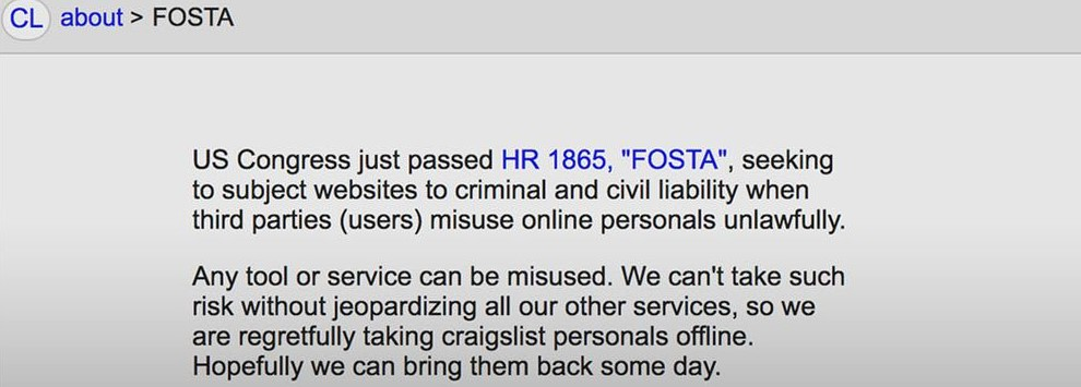 """Any tool or service can be misused."" — Craigslist, speaking against FOSTA"