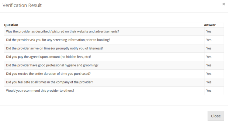 Have We Met's simple questionnaire asking the client prove the validity of an escort.