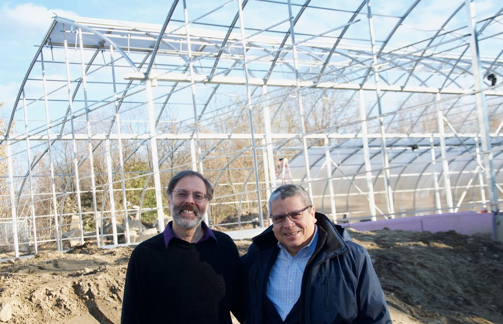 LEAF Executive Director Gerardo Espinoza with Wellspring Co-Director Fred Rose (Photo by Ben Selden)