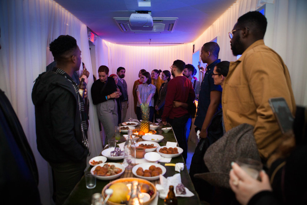 Friends and supporters of the soon-to-open Filipino restaurant, Tanám, gather for a New Year's Party