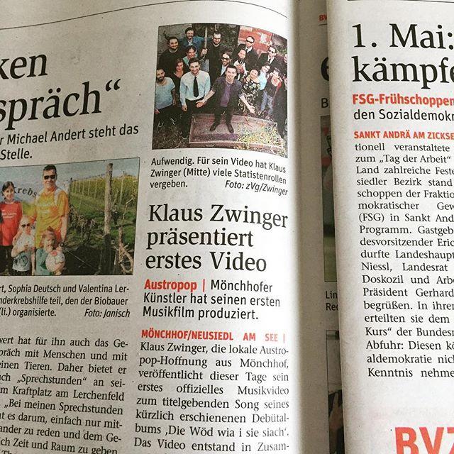 wieder einmal ein großes #dankeschön an die #bvz bzw. an @superpowerpaul :-) . . . . . #video #musikvideo #debut #zeitung #artikel #austropop #mundart #dialekt #musik #dialektmusik #wien #vienna #mönchhof #burgenland #neusiedl