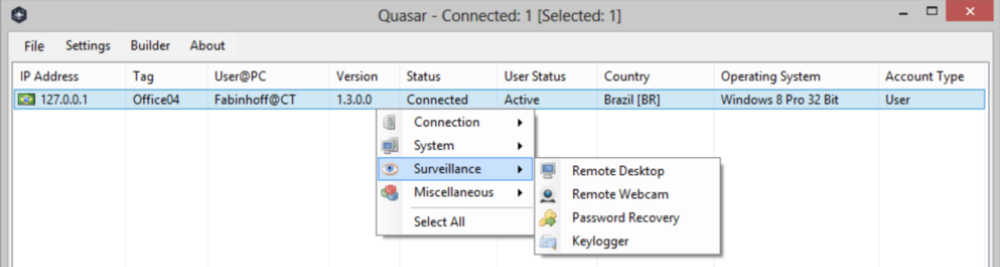 Quasar RAT UI showing a list of infected victims, and some of the capabilities of the RAT. Credits: https://n0where.net/free-open-source-remote-administration-tool-for-windows-quasarrat