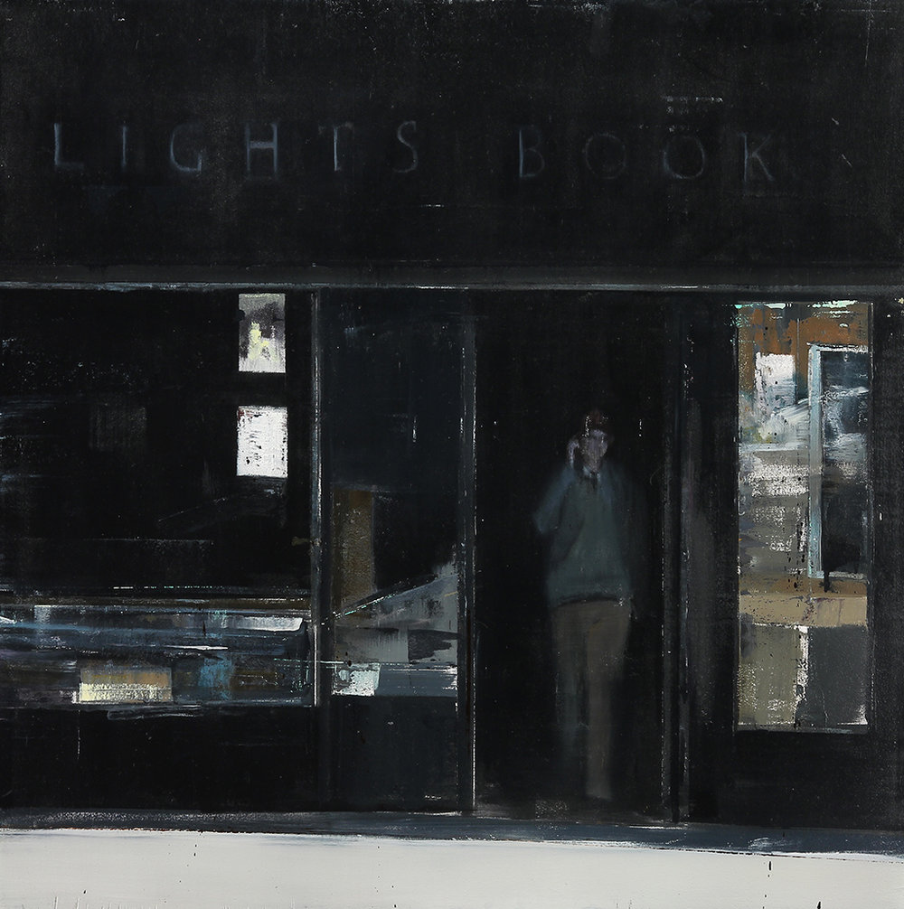 City Lights Books 12-1pm  oil on wood     30x30 inches   2012