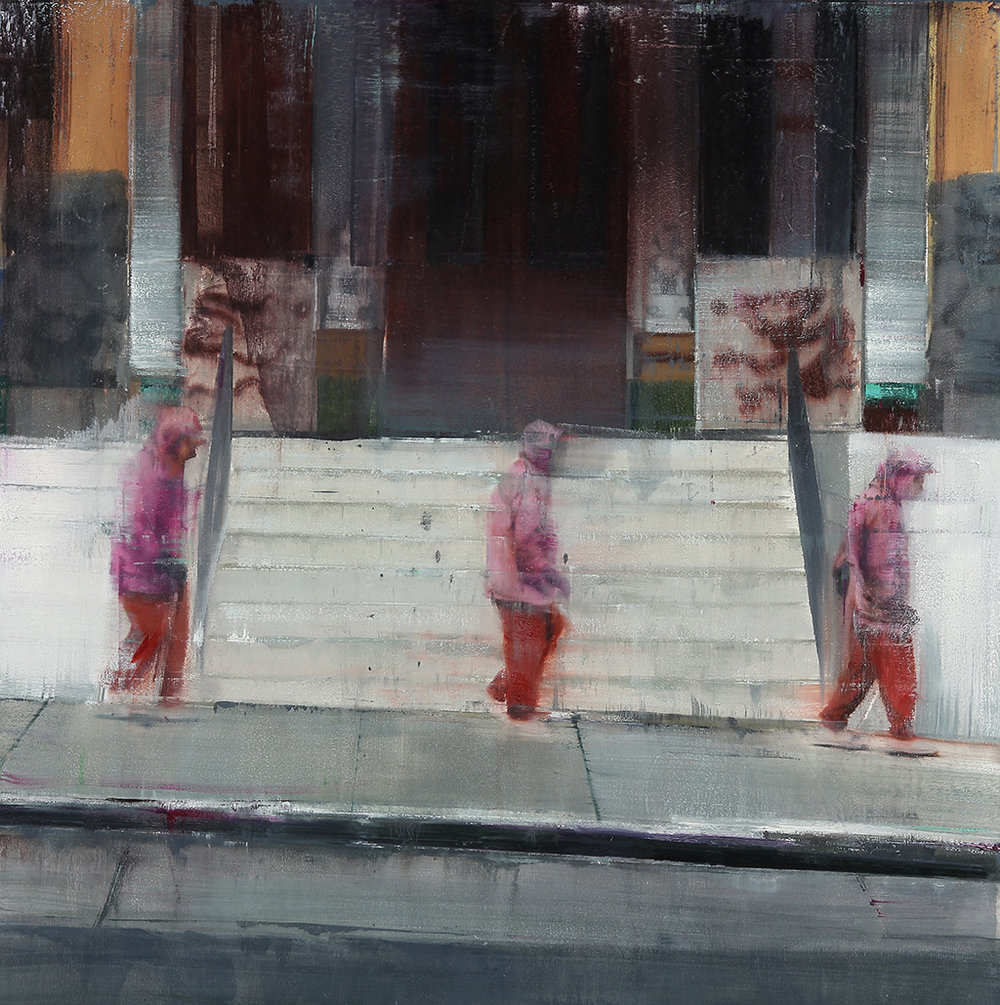 Headquarters for the Chinese Six Companies 7-8am  oil on wood      30x30 inches   2012