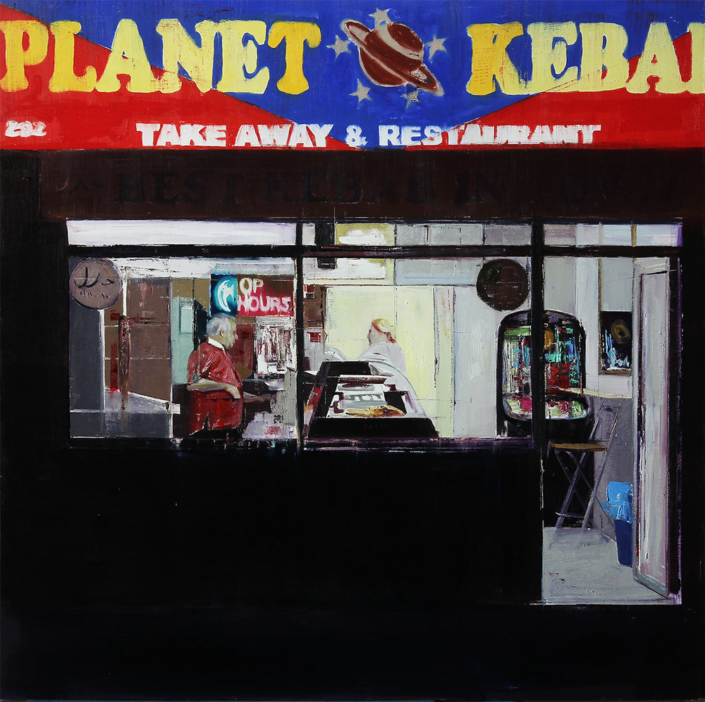 "2-3am Planet Kebab (Waiting#204)          Oil on wood     36""x36""      2014"