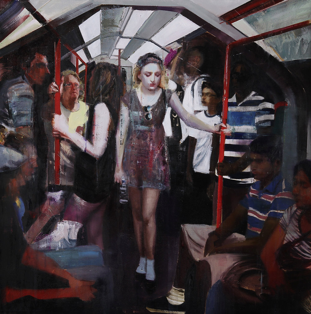 "7-8pm Tube, Central Line (Waiting#202)        Oil on canvas    60""x60""    2014"
